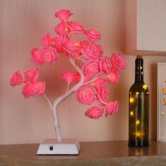 Bolylight LED Handmade Rose Flower Night Light 17.71 inch 32L, Red