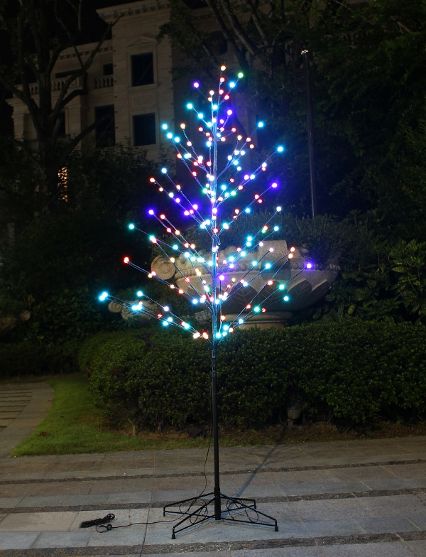 Bolylight 6ft Lighted Frosted Ball Tree 184L LED, Multi-Color